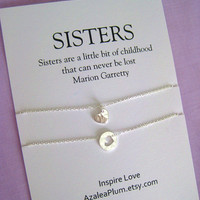2 SISTERS Necklace. Two Sisters Sterling Silver. SISTER Necklace. Sister Gift. Bridal Party.  Maid of honor Sister. Sisters Necklace