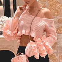 Chic ruffled crop sweater women Elegant striped female pink sweater knitted tops Long sleeve streetwear ladies sweaters