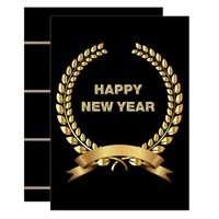 Happy New Year Invite Gold And Black