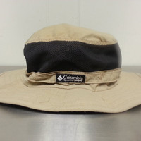Vintage 90's Columbia Vented Mesh Fishing Rain Hat Light Brown Khaki Black Size XL Extra large Made In USA Strap