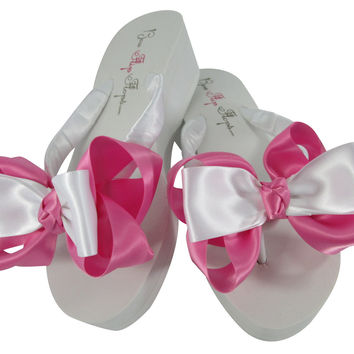 Hot Pink Wedge 2 inch Bride & Bridesmaid Bow Flip Flops with low wedge or high inch