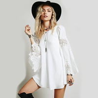 Casual dress 2016 SummerCotton  Women Vintage Hippie Boho Bell Sleeves Gypsy Festival Holiday Lace Mini Dress print vestidos