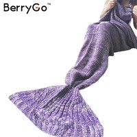 BerryGo Kids adult knitted mermaid tail blanket Autumn winter warm pink sleeping bag 2016 Soft handmade crochet wrap bedding