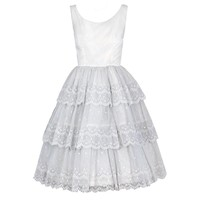 1950's Ivory-White Embroidered Tiered-Ruffle Cupcake Party Dress