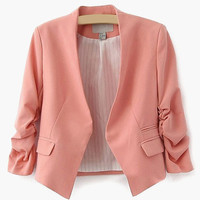 Ruched Sleeve Casual Coat