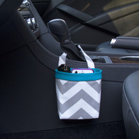 Car Cellphone Caddy ~ Gray Chevron ~ Turquoise Band ~ Center Console Handle