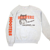 80s HOOTERS Sweatshirt Distressed Gray Cincinnati OHIO Grunge Raglan Shirt Small Fit Owl Sweatshirt Bird More Than A MOUTHFUL Womens Large