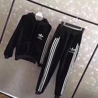 """Adidas"" Women Casual Fashion Stripe Logo Embroidery Thickened Velvet Long Sleeve Hooded Sweater Trousers Set Two-Piece Sportswear"