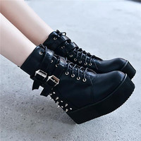 Punk Rock Womens Rivet Spiked Buckle Side Zipper High Platform Creeper Wedge Heels Height Increasing Ankle Boots Riding Shoes Alternative Measures