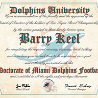 """Miami Dolphins Ultimate Football Fan Personalized Diploma - Perfect Gift - 8.5"""" x 11"""" Parchment Paper"""