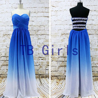 Sweetheart Gradient Color Chiffon Prom Dress, Long Bridesmaid Dress, Pleats Bead Evening Dress, Homecoming Party Dress,Royal Blue Prom Dress