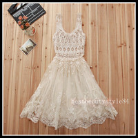 Vtg Sheer CROCHET free Romantic LACE HIPPIE People WEDDING party Holiday DRESS