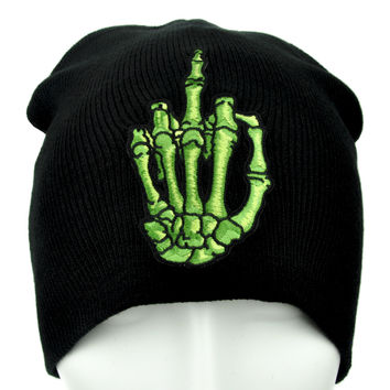(3 Pack) Skeleton Hand Middle Finger Beanie Alternative Punk Clothing Knit Cap