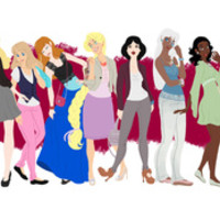 Modern Princesses Stretched Canvas by Tella