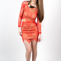 Red Sunny Style Lace Skirt
