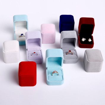5pc/lot  Mix color 5CMX6CMX5CM Blocked Wedding Jewellery Earring Ring Storage Box Gift Packing Box For Jewelry