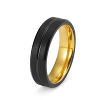 Black Tungsten Ring Yellow Gold Wedding Band Ring Brushed Tungsten Carbide 6mm 18K Tungsten Ring Mens Wedding Band Male Women Anniversary His Hers Matching Promise Beveled Edges
