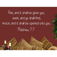 Matthew 7:7 - Bible Wall Decal - Inspirational Wall Signs