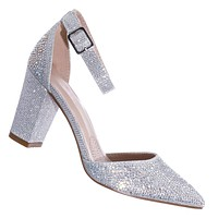 Songful7 Rhinestone Chunky Block Heel Pump - Womens Dressy Ankle Strapped Shoe