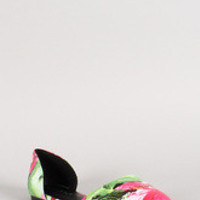 Breckelle Floral Pointy Toe Dorsay Flat