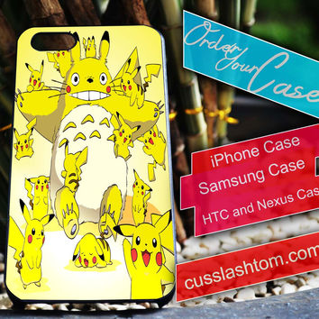 Exclusive Totoro Pokemon iPhone for 4 5 5c 6 Plus Case, Samsung Galaxy for S3 S4 S5 Note 3 4 Case, iPod for 4 5 Case, HtC One M7 M8