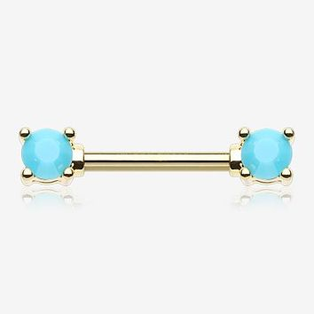 A Pair of Golden Turquoise Bead Prong Nipple Barbell