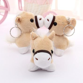 1pcs 12cm Little Donkey Plush Toys Fluffy horse Pendant Soft Stuffed Animals Doll Baby kid Toy Gifts Phone Strap Bag Accessory