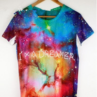 Hipster Men's Short-sleeve Galaxy Print T-shirt, Fading color Galaxy Tee