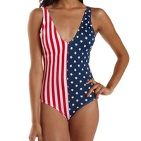 Blue Combo Americana Plunging One-Piece Swimsuit by Charlotte Russe