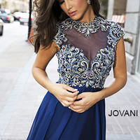 Blue Cap Sleeve Gown 20480 - Prom Dresses