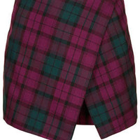 Petite Exclusive Exclusive Tartan Asymmetic Skort - Purple