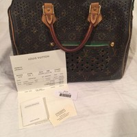 DCCKIN9 Auth Louis Vuitton Monogram Perforated Green Speedy 30 Hand Bag with Receipt