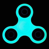 Vitoki Tri Spinner Hand Toy Fidget Spinner Stress Reliever For ADD, ADHD, Anxiety, Glow In The Dark, Long Time Spinning, Quiet No Noise, Perfect Fun Toy for Adults and Children Fluorescence Cyan-blue
