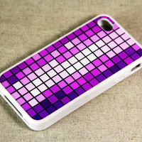 Purple Mosaic Pattern iPhone 4 iPhone 4S Case, Rubber Material Full Protection