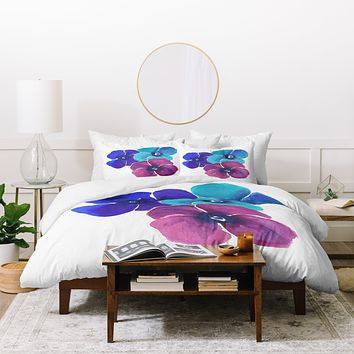 Laura Trevey Jewel Tone Pansies Duvet Cover