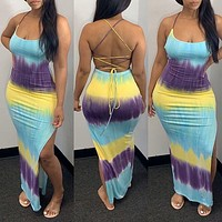 2020 new arrival women's gradient color printed open back knitted dress