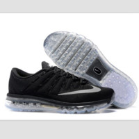 """NIKE"" Trending AirMax Toe Cap hook section knited Fashion Casual Sports Shoes Black transparent soles (light grey hook)"