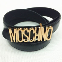 MOSCHNO Woman Fashion Candy Color Buckle Leather Belt