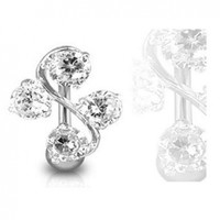 1 - Clear CZ Top Down Belly Button Navel Ring Surgical Stainless Steel 14 Gauge 3/8 Inch Barbell B210