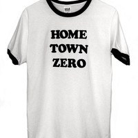 HOME TOWN ZERO unisex ringer tee loser gear zero by FLUNKLIFE