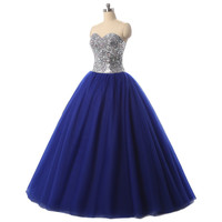 Charming Beaded Crystals Sweetheart Ball Gown Tulle Corset Back Formal Prom Dress Ball Gown Sweet  Dresses C025