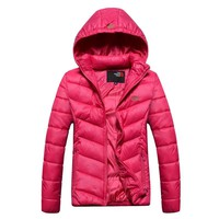 The North Face New fashion bust letter print women long sleeve coat top Rose Red