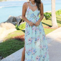 Mint Floral Maxi Dress with Open Back and Side Slit