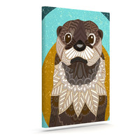 """Art Love Passion """"Otter in Water"""" Blue Brown Canvas Art"""