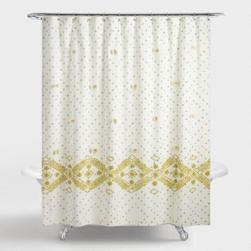 Cress Green and Gray Embroidered Siya Shower Curtain