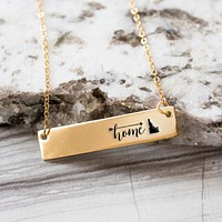 Home is Idaho Gold / Silver Bar Necklace