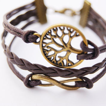 3 Strand Brown Antique Vintage Bronze Tree Nature Infinity Faux Leather Braid Cord Bracelet (Adjustable Sizing)