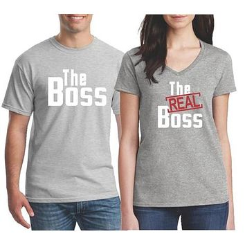 His and Hers Matching Couples Shirt Sets - The Boss The Real Boss T Shirts