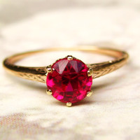 Antique Ruby Engagement Ring 14K Yellow Gold Crown Setting Filigree Ring 0.50ct Round Cut Synthetic Ruby Size 6