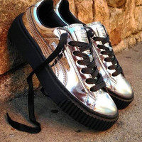 """PUMA""Basket Creeper Metallic Shiny Women Man Casual Running Sport Shoes Sneakers Silver G-TXXC-WXXC"